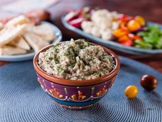 "Get Nadia's ""Salata de Vinete"" Eggplant Salad Spread Recipe from Food Network Trisha Yearwood Roasted Eggplant Dip, Eggplant Salad, Roast Eggplant, Trisha's Southern Kitchen, Eggplant Recipes, Appetizer Recipes, Appetizer Dips, Yummy Appetizers, Food Network Recipes"