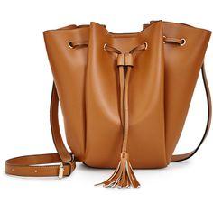 ShoeDazzle Bags Ewan Womens Brown featuring polyvore, women's fashion, bags, handbags, brown, wallets & cases, drawstring purse, handbags purses, brown tassel bag, brown purse and man bag