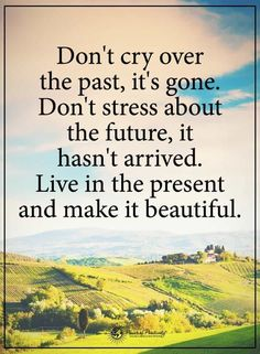 Don't cry over the past, it's gone; and don't stress about the future. Great Quotes, Quotes To Live By, Me Quotes, Motivational Quotes, Inspirational Quotes, Qoutes, Anger Quotes, Simple Quotes, Peace Quotes