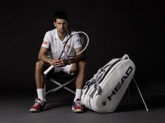 Novak Djokovic with new bag