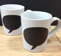 World Market Pair of Chalkboard Mugs Speech Bubble White Black Cost Plus Unique | eBay