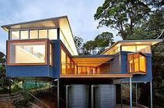 colorbond cladding - Google Search Easy Fence, Facade House, House Exteriors, House On A Hill, Plan Design, Sustainable Design, Cladding, Wordpress, Cabin Design