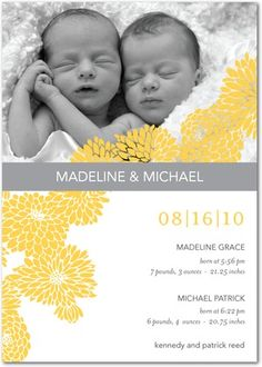 Twins Photo Birth Announcements Blossoming Babies - Front : Mustard