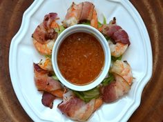 Bacon wrapped shrimp with apricot- horseradish dipping sauce