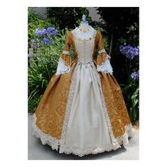 Steampunk Rococo Marie Antoinette Gown Brocade and Silk Custom with... ($950) ❤ liked on Polyvore
