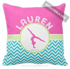 Golly Girls: Personalized Multi-Color Chevron Gymnastics Throw Pillow only at gollygirls.com