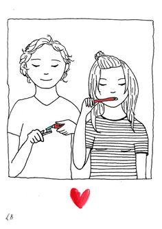 Persoonlijk gedicht met illustratie voor Eline en Paul. Door Lot Bouwes