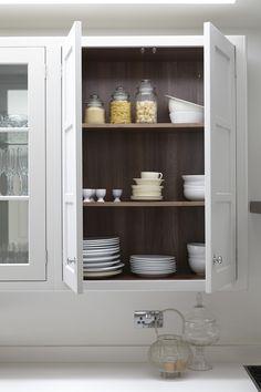 walnut inside cabinets Transitional Kitchen by Blakes London Tall Kitchen Pantry Cabinet, Shaker Kitchen, Kitchen Cabinetry, Kitchen Flooring, Kitchen Furniture, Kitchen Interior, Kitchen Decor, Kitchen Ideas, Kitchen Nook