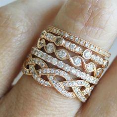Vintage-inspired stackable rings in rose-gold  #milgrain #diamonds
