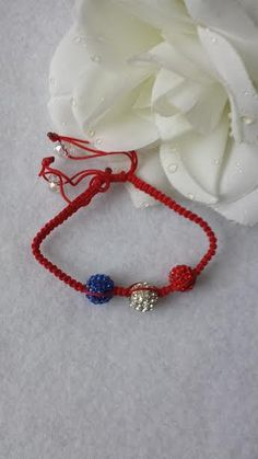 Red white and blue  patriotic macrame bracelet by JewelrybySylvie