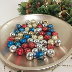 Vintage Miniature Unbreakable Christmas Balls  | Sold as Sets of 12 of Red, Blue, Gold and Silver Christmas Ornaments, Mini Christmas Balls by Jimpiphanys on Etsy