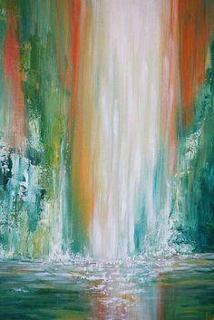Shop Maui Falls Waterfall Painting by Liz W Fine Art. Inspired by tropical waterfalls of Maui, Hawaii. Original Landscape Art Paintings by Liz W!