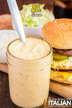 Big Mac Sauce is purely irresistible. It is so creamy and tangy, I had to have it at home! Whip up a batch today using simple ingredients and spices. #BigMacSauce #McDonaldsCopycat #Sauce Homemade Big Mac Sauce, Big Mac Sauce Recipe, Sauce Recipes, Meat Recipes, Cooking Recipes, Online Recipes, Copycat Recipes, The Slow Roasted Italian, Soup And Sandwich
