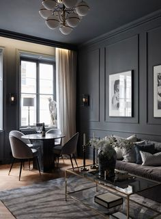 Black Design for an apartment of two room of - planete deco a homes world Dark Living Rooms, Living Room Interior, Apartment Interior, Home Living Room, Living Room Designs, Living Room Decor, Dark Interiors, Loft Interiors, Luxury Home Decor