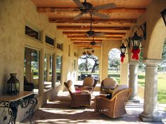 Rear porch of Central Texas Tuscan designed by Christopher K. Travis using the Truehome Workshop. Tuscan Design, Tuscan Style, Tuscan Furniture, Old World Kitchens, Home Porch, Tuscan House, Tuscan Decorating, Outdoor Living, Outdoor Spaces