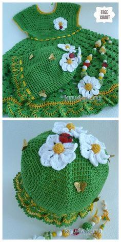 Crochet Girls Dress & Hat Set Free Pattern Round Up Crochet Dress Girl, Crochet Baby Dress Pattern, Baby Afghan Crochet, Baby Girl Crochet, Crochet Patterns, Crochet Dresses, Childrens Crochet Hats, Crochet Toddler, Crochet For Kids