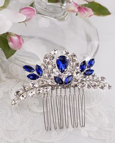 Blue Bridal hair comb Something Blue hair comb Navy blue