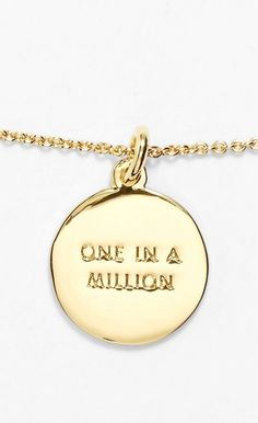 Love the simplicity of this Kate Spade 'one in a million' initial pendant necklace in gold. @nordstrom