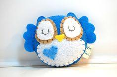 Blue Plush Owl / Eco friendly Stuffed Toy by vivikas on Etsy, $15.00