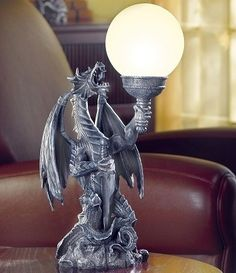 Medieval Dragon Statue Table Lamp Light Globe Mythical Goth Living Room Bedroom