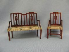 Antique Miniature Tynie Toy 1920s Matching Settee Arm Chair Hand Painted Seats | eBay