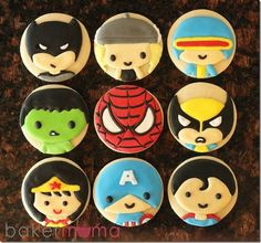 These cool Super Hero Sugar Cookies were made by Bakermama. These cookies feature Batman, Thor, Cyclops, The Hulk, Spider-Man, Wolverine, Wonder Woman, Captain America, and Superman.