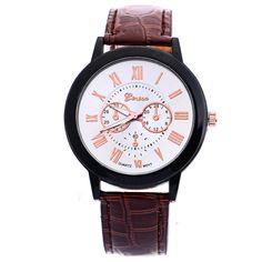 Crocodile pattern brown leather strap geneva watch display $1.5usd