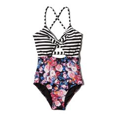 Abercrombie & Fitch Floral Striped One-Piece Swimsuit found on Polyvore featuring polyvore, fashion, clothing, swimwear, one-piece swimsuits, black stripe and floral, colorblock swimsuit, black swimsuit, strappy swimsuit and striped one piece bathing suit