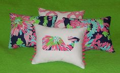 New Whale pillow made with LILLY PULITZER Sippin and Trippin fabric in Home & Garden, Bedding, Decorative Bed Pillows | eBay