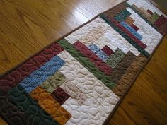 Quilted Table Runner Log Cabin Scrappy  14 x by simpletreasures55