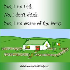 Sober Advertising : Yes I am Irish. No I don't drink. Yes I am aware of the irony #12step #sober