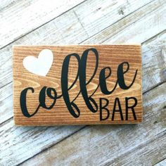 Coffee Bar Mini Sign ________________________________________________________________   Perfect gift for the coffee lover in your life! This mini sign would look great in your kitchen, on your shelf, or by your coffee station (if youre so lucky).  Are you a tea person? Let me know and Id be more than happy to make a custom sign just for you!   ::: { Details: } ::: Size: Approx 3.5 x 5.5 (send me a convo if you need a larger piece)  This piece comes stained, hand painted, and sealed for safe…