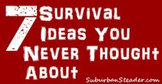 A collection of seven interesting survival ideas that you can put into practice right now.
