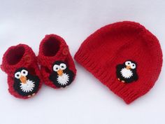 Baby hand knitted red beanie hat and shoes set to by MyfanwysMakes