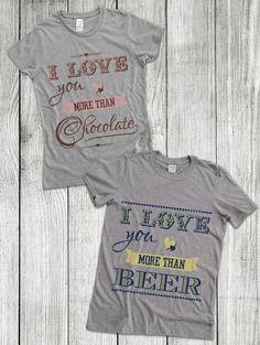 chocolate, beer, love, true love, dla zakochanych, zakochani, takie same koszulki dla zakochanych, tshirts