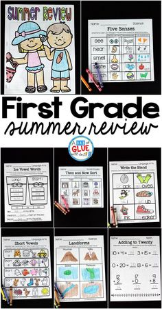 The perfect NO PREP First Grade Summer Review to help your students with hands-on learning over summer break! Give your students going into Second Grade fun review printables to help prevent the summer slide and set them up for Second Grade success.