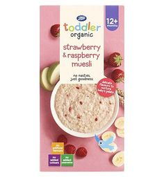 #Boots Baby Organic Strawberry  Raspberry Muesli #12 Advantage card points. Boots Baby Organic Strawberry and Raspberry Muesli Stage 3 12months+ 350g contains fruit and muesli dried baby food with added vitamin B1 FREE Delivery on orders over 45 GBP. (Barcode EAN=5045095589141)