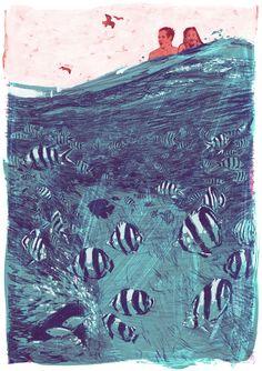 """""""Nove histórias""""é uma coleção publicada em 1953 que foi homenageada pelo ilustrador Jonny Ruzzo e foram feitas com grafite e giz acrílico, bem como tratamento de Photoshop."""