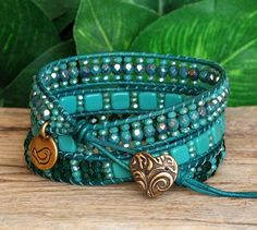 Items similar to Blue Green Beaded Leather Multi Wrap Bracelet, Tile and Crystal Beaded Wrap, Unique Bohemian Artisan Jewelry on Etsy Beaded Leather Wraps, Leather Cord, Beaded Wrap Bracelets, Beaded Jewelry, Crochet Bracelet, Triple Wrap, Bracelet Sizes, Leather Jewelry, Lead Free