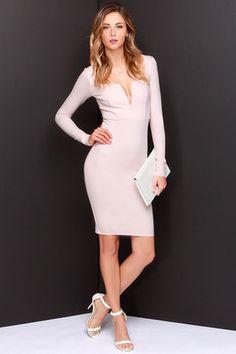 Chic Blush Dress - Midi Dress - Long Sleeve Dress - $54.00