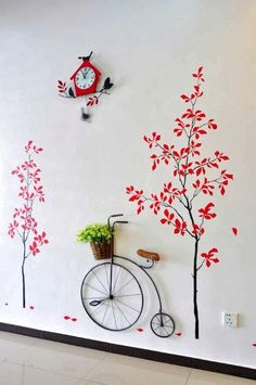 80 Awesome Spring Garden Decoration Ideas For Backyard & Front Yard Wall Painting Decor, Wall Art, Wooden Garden Planters, Red Tree, Diy Home Crafts, Spring Garden, Hanging Plants, Paint Designs, Wall Design