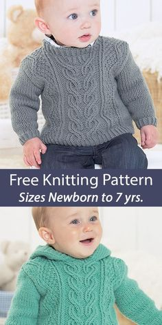 Free Baby and Child Round Neck Sweater and Hooded Sweater Sirdar 1337 Knitting Patterns Pullover sweaters in baby and child sizes with central cable panel and zigzag cables. Options for Round Neck or Hood. Sizes 0-6 Months, 6-12 Months, 1-2 Years, 2-3 Years, 4-5 Years, 6-7 Years. Sirdar 1337. Aran weight yarn.