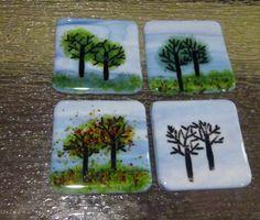 Fused Glass Coasters 4 Seasons set of 4 by AllFiredUpinFlorida, $25.00