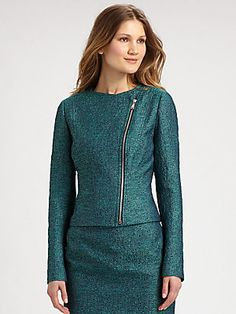 Elie Tahari Brenna Tweed Moto Jacket