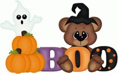 Silhouette Design Store: boo bear w ghost pnc Moldes Halloween, Adornos Halloween, Halloween Clipart, Halloween Pictures, Cute Halloween, Halloween Cards, Halloween Decorations, Halloween Painting, Halloween Scrapbook