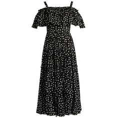 Dolce & Gabbana Polka-dot print off-the-shoulder ruffled dress (5.585 BRL) ❤ liked on Polyvore featuring dresses, black multi, ruffled dresses, polka dot dress, flared dresses, dot dress and frilly dresses