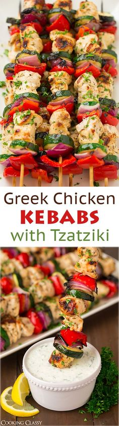 Greek Chicken Kebabs with Tzatziki Sauce - I could live on these! - Greek Chicken Kebabs with Tzatziki Sauce – I could live on these! They're so flavorful and they - Think Food, I Love Food, Greek Chicken Kebabs, Chicken Kebab Recipe Skewers, Chicken Souvlaki, Kebab Skewers, Grilled Chicken Kabobs, Chicken Kabob Recipes, Greek Chicken Recipes