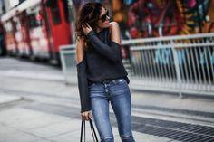 cold shoulder sweater, ripped hudson skinny jeans, MCM tote bag
