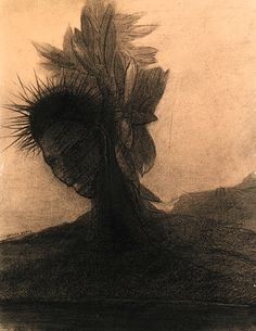 Odilon Redon (French, 1840-1916), Head-tree. Charcoal on paper, 20 x 14 in