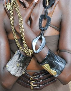 Statement pieces  reclaimed Ankole cow horn cuffs and necklace